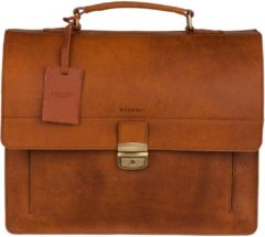 Burkely Scott Vintage Briefcase 2 Compartment cognac Herentas