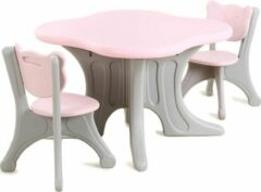 Merkloos / Sans marque Kunstof kinder tafel en stoeltjes - roze - 72 x 72 x 50 cm