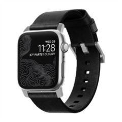 Nomad Modern Apple Watch bandje 42mm / 44mm - Zwart met zilveren gesp