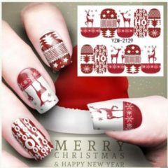Rode 2020 Nieuwe Winter Kerst Slider Nail Decals Nail Red color Art Sticker Diy Manicure Water Accessoire Transfer Folie Xmas Gift Dino`s Sale