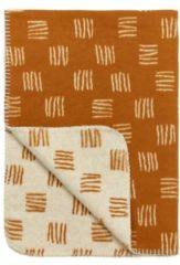 Gebroken-witte Meyco block stripe flanel wiegdeken - 75x100 cm - camel/offwhite