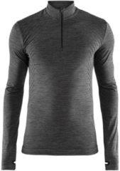 Zwarte Craft Fuseknit Comfort Zip Heren Sportshirt - Black Melange - XXL