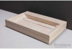 Forzalaqua Bellezza wastafel 80.5x51.5x9cm RECHTHOEK 1 wasbak Travertin gezoet beige 100341