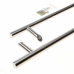 Roestvrijstalen Intersteel deurgrepen t-schuin 1200x90x30 hoh 1000 rvs (Prijs per paar)