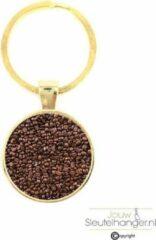Gouden MC Living Sleutelhanger Glas - Koffiebonen