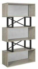 MIRA Home - Boekenplank - Boekenkast - Industrieel - Grijs - Hout/Metaal - 30×80×149
