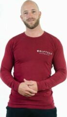Donkerrode Wolftech Gymwear T-shirt Lange Mouwen Heren - Rood / Bordeaux - L - Met Klein Logo - Sportkleding Heren