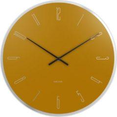 Karlsson Wandklokken Wall Clock Mirror Numbers Glass Geel