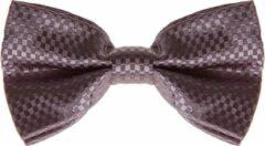 S.Y.W Vlinderstrik voor kinderen glimmend grijs geblokt
