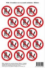 Rode Stickerkoning Pictogram sticker P040 - Ontsteken van vuurwerk verboden - Ø 50mm - 15 stickers op 1 vel