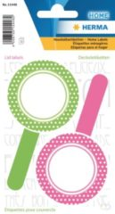 HERMA 15448 Stickers Kitchenlabels voor deksel new look roze groen