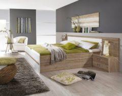 Rauch-PACKs Bett 180 x 200 cm mit Nachtkommoden und Kippaufrahmen Eiche Sanremo hell/ alpinweiss RAUCH PACKS Gandra