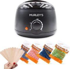 Zwarte MURLEY'S Pro Wax Ontharen Wax apparaat Ontharing Set Incl. 400 gram Wax Bonen 20 Houten Spatels - Wax apparaat- Geschikt voor het Ontharen van Lichaam en Gezicht - Ontharingsapparaat - Harsapparaat - Harsverwarmer - Hars Verwarmer Apparaat - Wax Be
