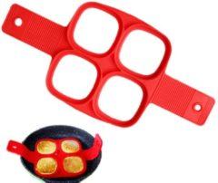 Rode Merkloos / Sans marque Siliconen Bakvorm Ei Pannenkoek – Bakvorm Flipper - Maak de perfecte pannenkoeken gebakken eieren en omeletjes - Bakvorm ei – Bak eenvoudig 4 Gelijke Gerechten – Model Vierkant
