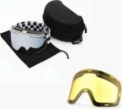 Zilveren Improducts Skibril met magnetische lens spiegel Silver frame wit Y type 7 Cat. 1 tot 4 - ☀/☁