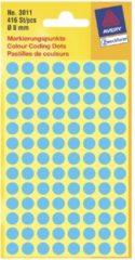 Avery-Zweckform 3011 Etiketten à 8 mm Papier Blauw 416 stuk(s) Permanent Etiketten voor markeringspunten