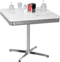 Wohnling Esstisch ELVIS 80 cm American Diner MDF Holz & Alu Esszimmertisch Design Küchentisch Retro USA Bistrotisch
