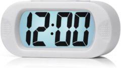 JustAnotherProduct JAP AP17 digitale wekker - Stevige alarmklok - Met snooze en verlichtingsfunctie - Beschermhoes van rubber - Wit
