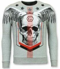Enos Rhinestone Mannen Trui - Doodskop Crewneck- Ster Skull Sweater - Grijs Sweaters / Crewnecks Heren Sweater Maat XS