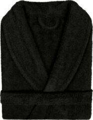 Pure Duplex Badjas Badstof Uni Pure Royal met Shawlkraag Zwart col 3 maat M