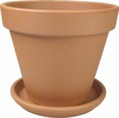 Plantenwinkel.nl Plantenwinkel Terracotta pot met schotel 48 cm mono set bloempot voor binnen en buiten