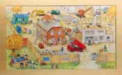 De K van Kinderen Houten framepuzzel Bas op de Bouw
