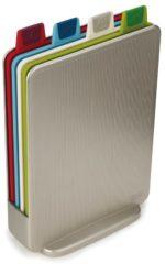 Zilveren Snijplanken - 4 stuks in houder - Mini antislip Index Advance Plus - Zilver - Joseph Joseph