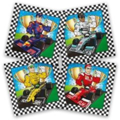 Merkloos / Sans marque 40x Race themafeest servetten gekleurd 33 x 33 cm papier - Kinderfeestje papieren wegwerp tafeldecoraties