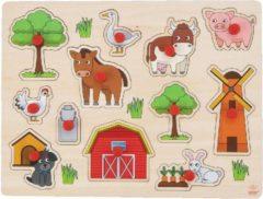 Merkloos / Sans marque Houten knopjes/noppen speelgoed puzzel boerderij thema 30 x 22 cm - Educatief speelgoed voor kinderen