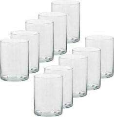 Transparante Trend Candles 10x Hoge theelichthouders/waxinelichthouders van glas 5,5 x 6,5 cm - Glazen kaarsenhouders - Woondecoraties