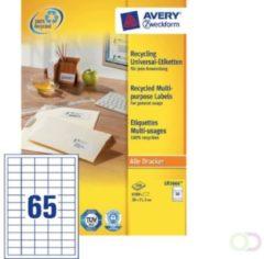 Zweckform Etiket Avery LR3666 38x21.2mm recycled wit 6500stuks