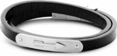 Frank 1967 7FB-0225 - Heren armband met leer en staal elementen - anker - lengte 39 + 1 cm - zwart