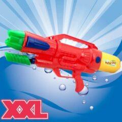 XL Waterpistool - Super soaker waterpistool voor jongens - Jumbo waterkanon - Dubbel Shots supersoaker water pistool voor kinderen - Waterspeelgoed Watergeweer - Water gun met groot water reservoir - Afm 63.5x10x26 Cm - 1.8 Liter - ROOD - Decopatent®