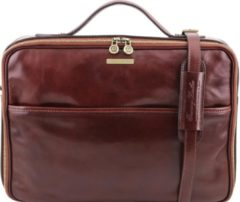 Donkerbruine Tuscany Leather - Leren 1-vaks aktetas 'Vicenza' - Bruin - TL141240