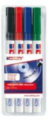 Edding CD/DVD marker E-8400 4-8400-4 Zwart, Rood, Blauw, Groen 0.5 mm, 1 mm 4 stuks/pack