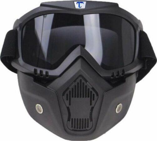 Afbeelding van Tecqx Motor Masker – Ski Bril – Scooter – Helm - Anti-UV – Snowboardbril – Multifunctioneel – Zwart