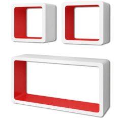 VidaXL Wandplanken kubus MDF zwevend voor boeken/dvd 3 st wit-rood