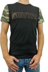 Groene Loud and Clear BRUTAL T Shirt Heren Zwart Oranje Camouflage - Camouflage Shirt - Ronde Hals - Korte Mouw - Met Print - Met Opdruk - Maat S