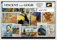 Transparante KLOMP G.T.P Vincent van Gogh - postzegelpakket cadeau met 100 verschillende zegels