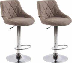 Luxe Comfort Barkrukken - Set van 2 - Stof - Taupe - Voetensteun - Stijlvol