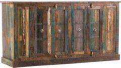 CLP Massives Sideboard ANTARA aus recyceltem Teakholz, 4 Türen und 4 Fächer, 171 x 50 cm, Höhe 90 cm