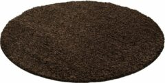 Decor24-AY Hoogpolig vloerkleed Dream - bruin - rond - 120x120 cm