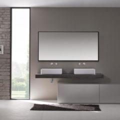 Douche Concurrent Badkamerspiegel Riva 100x60 Zwart Aluminium Lijst