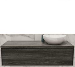 Boss & Wessing Badkamermeubel BWS Madrid Washed Oak 120 cm met Massief Topblad en Keramische Waskom Rechts (0 kraangaten)