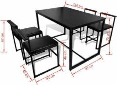 VidaXL Eetkamer set 5-delig zwart (incl. vloerviltjes)