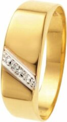 Lucardi 14 Karaat Geelgouden Zegelring - Met Diamant - Maat 66