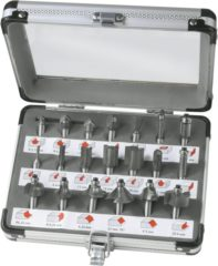 Grijze FERM Bovenfrezenset (20st.) - in aluminium koffer - PRA1008