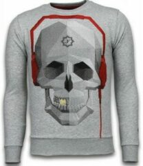 Local Fanatic Skull Beat - Rhinestone Sweater - Grijs Sweaters / Crewnecks Heren Sweater Maat XL