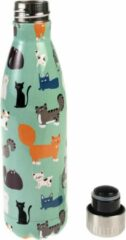 Turquoise NINE LIVES - STAINLESS STEEL DRINKING BOTTLE - 500ML - REX LONDON - DRINKFLES - CATS