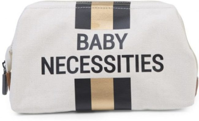 Afbeelding van Gouden Childhome BABY NECESSITIES CANVAS OFF WHITE STRIPES BLACK/GOLD